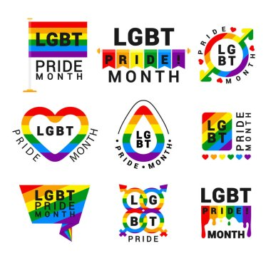 LGBT pride movement flat vector logos set. Homosexual community logotypes pack with rainbow color design elements isolated on white background. LGBTQ rights protection month stickers collection icon