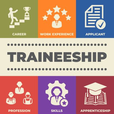 TRAINEESHIP Concept with icons and