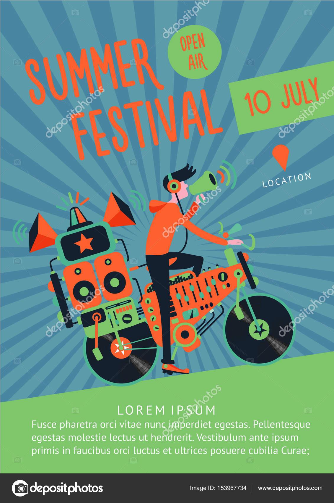 Dj とバイク夏祭りポスター テンプレート ストックベクター Ne2pi