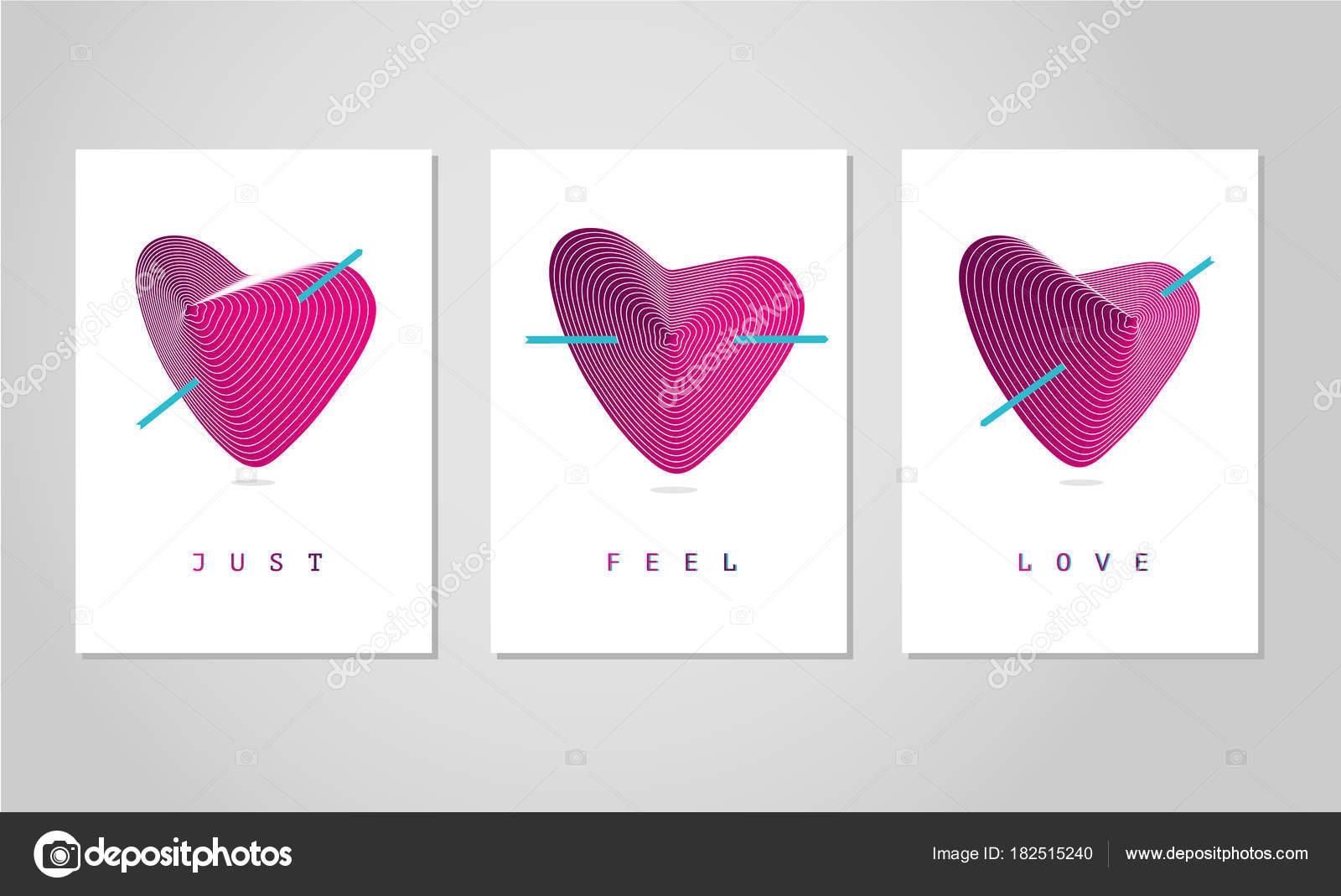 Karten zum Valentinstag. Liebe Poster set mit Herz. Trendige ...