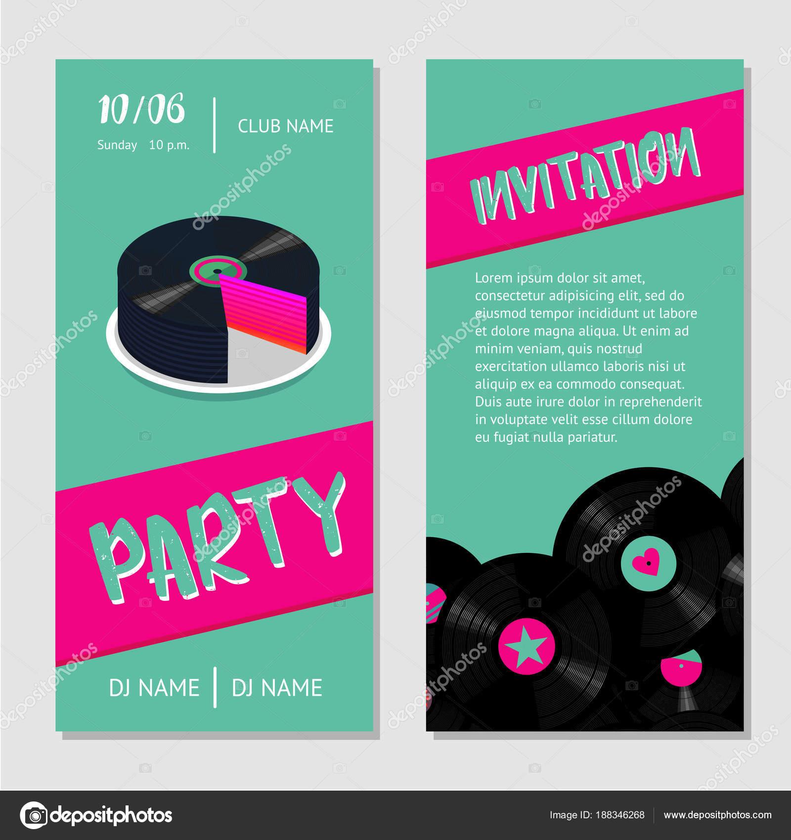 Birthday music cake. Dance party bilateral invitation for nightclub ...