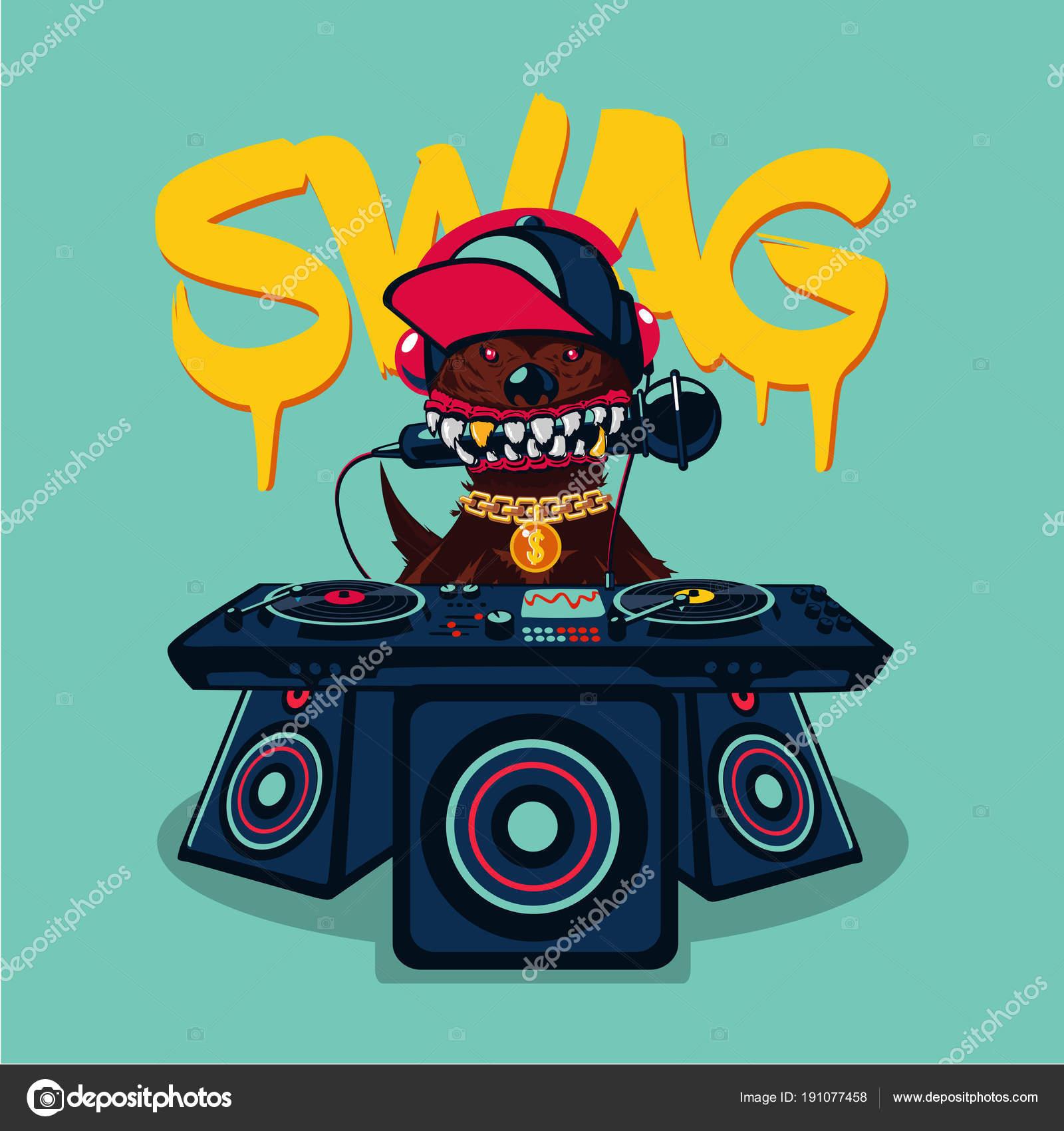 3dfa108b9a382 Cartel de hip-hop con perro. Música