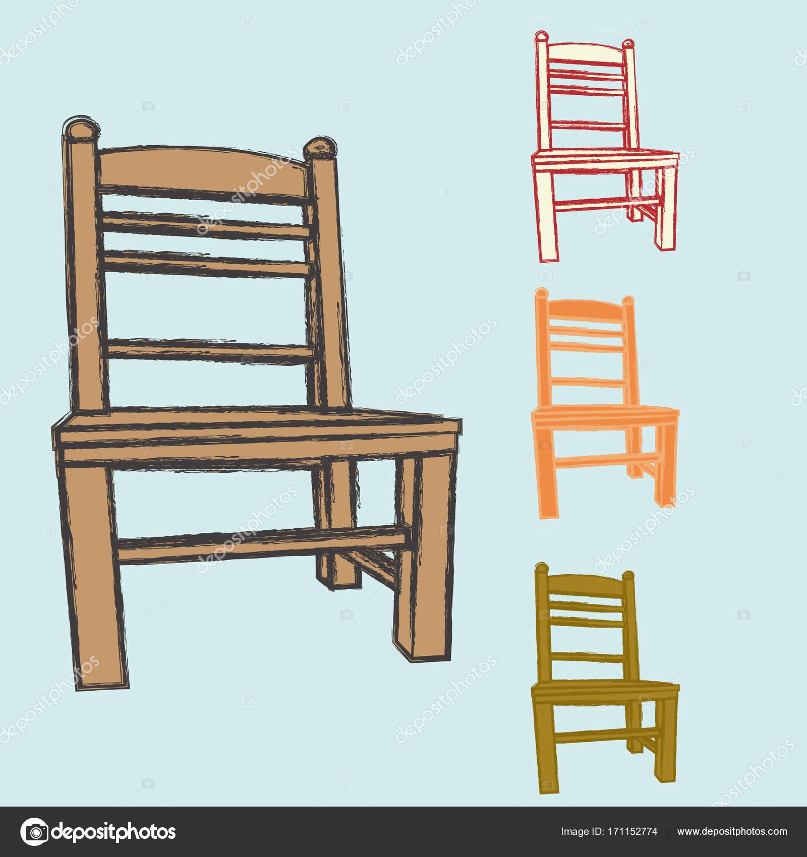 Stock Sedie Di Legno.Immagine Di Vettore Di Vecchie Sedie Di Legno Vettoriali Stock