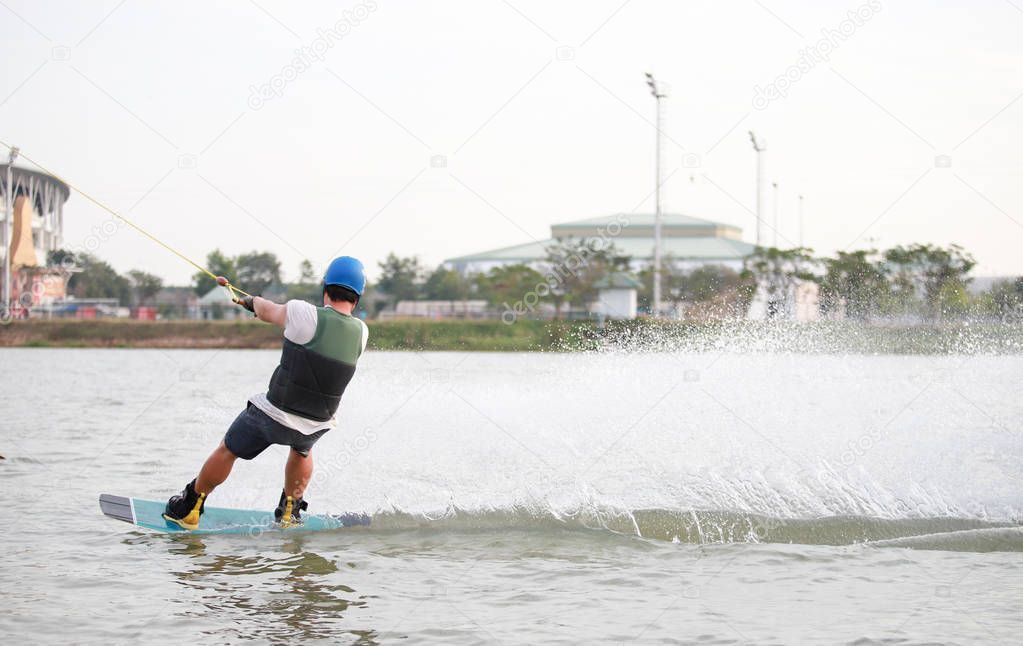 Surfing at the water sports arena.