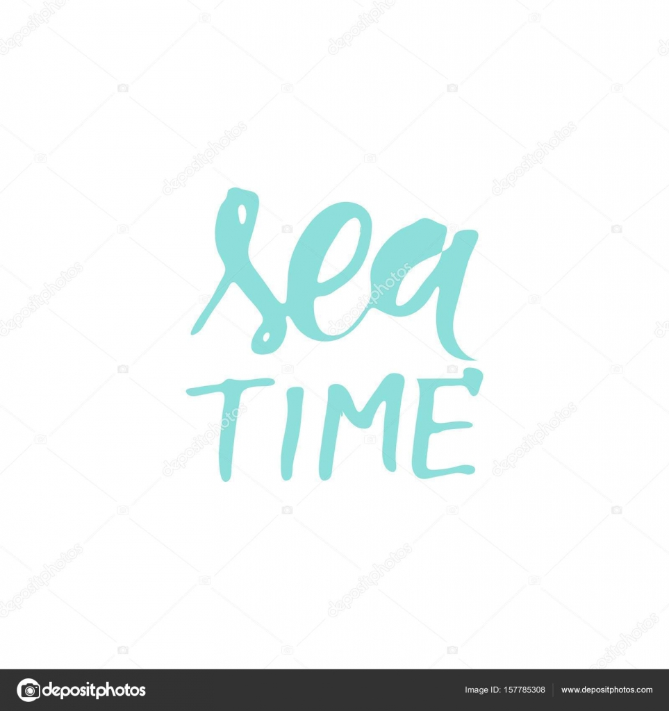 Sea quotes. Hand lettering illustration for your design. My home is ...