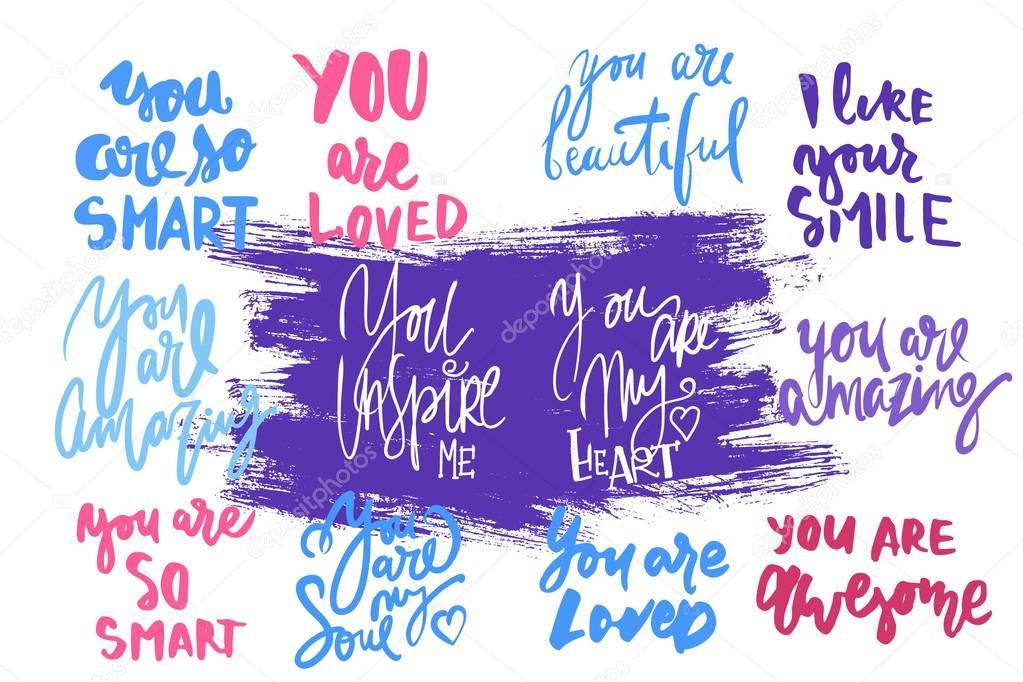 You are amazing.  You are beautiful. You are my heart. Compliment set..Modern calligraphic style.hand lettering and custom typography for your design