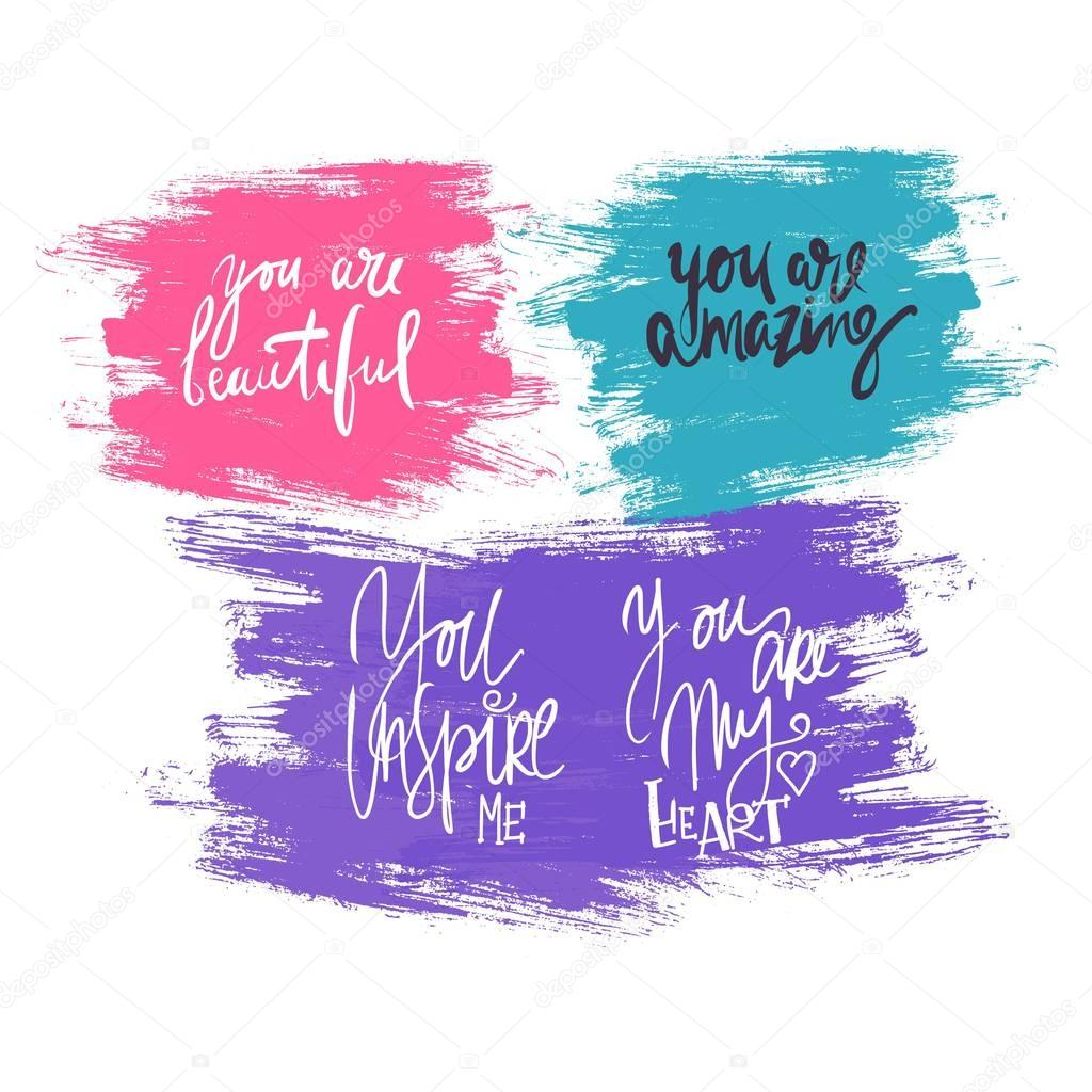 You are beautiful. You are my heart. Compliment set..Modern calligraphic style.hand lettering and custom typography for your designs: t-shirts, bags, for posters, invitations, card