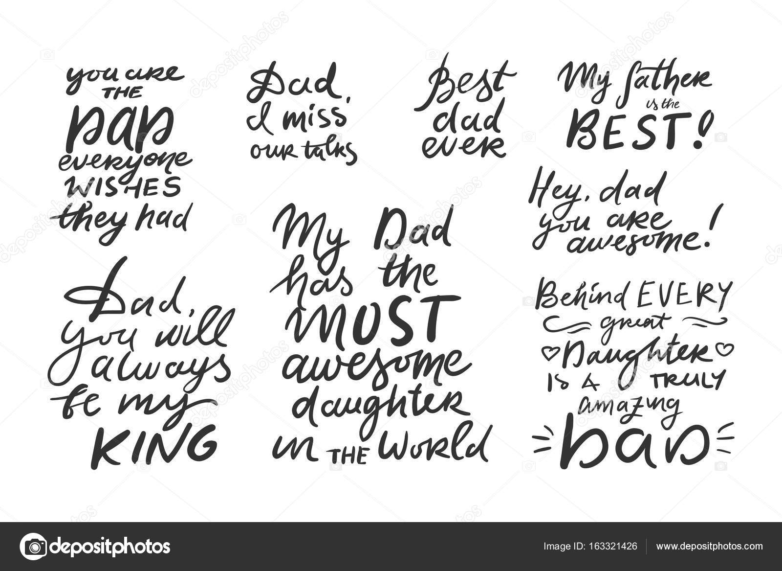 father s hand lettering can be used for cards templates stock