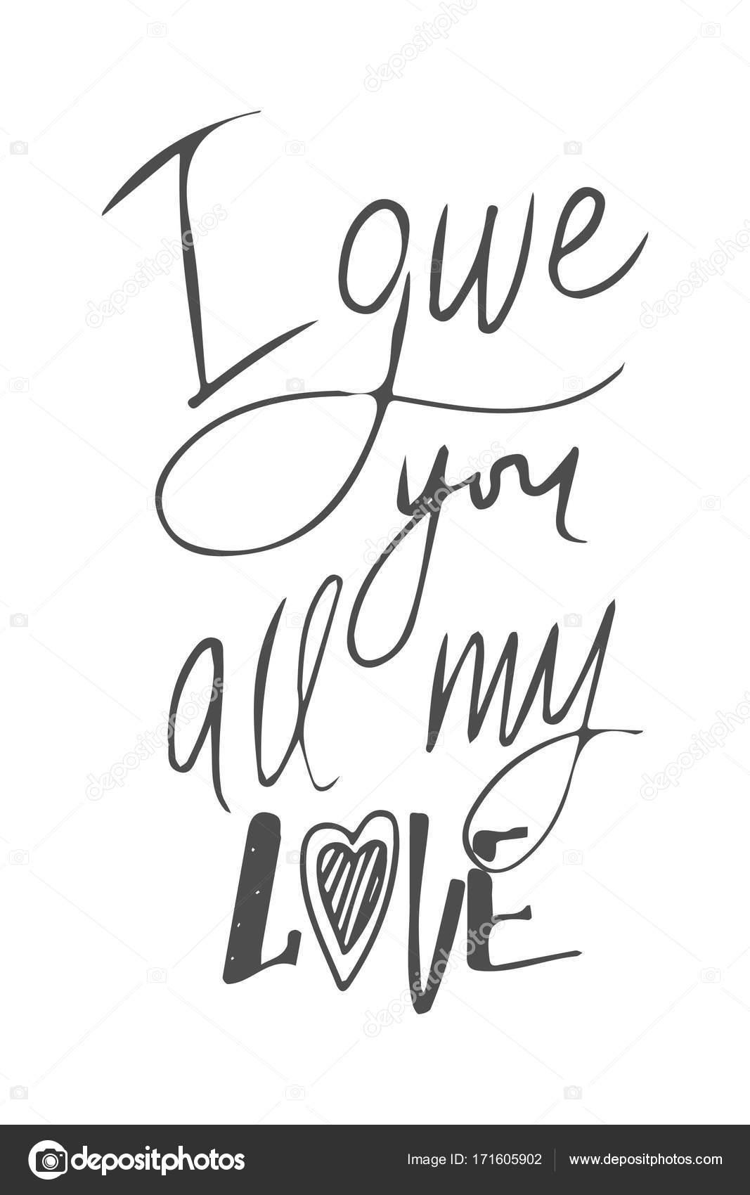 Conjunto De Citas Motivacionales De Amor Letras De Mano Y