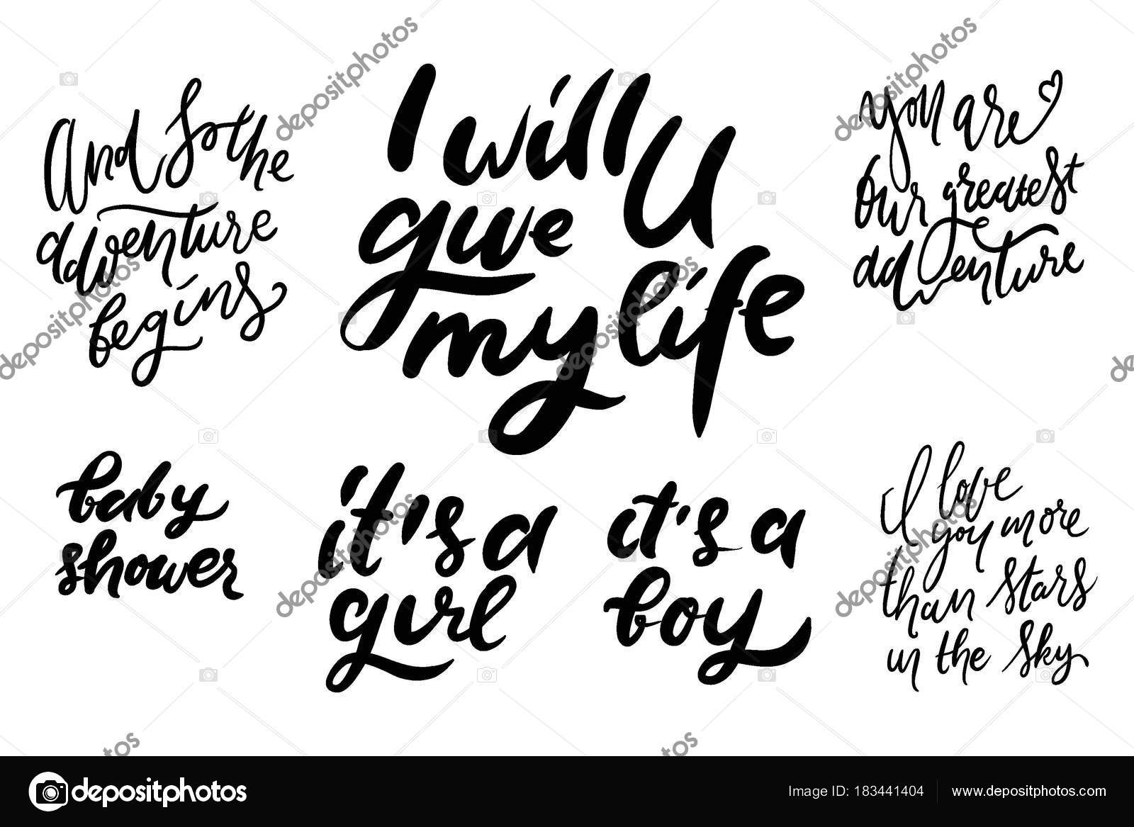 Baby Shower Quotes Hand Lettering Illustration Stock Vector