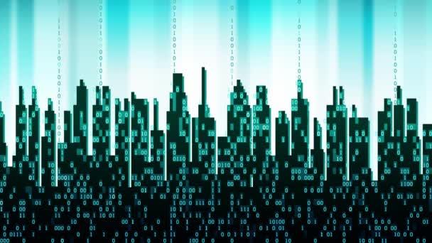 Město online. Abstraktní futuristické digitální město, cloudové služby, high-tech pozadí