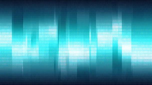 Absztrakt kék háttér függőleges fényes csíkok és digitális bináris tömb, varrat nélküli hurok