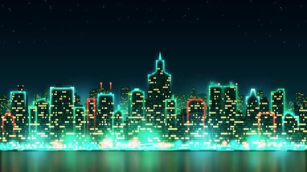 Frohe Weihnachten Schriftzug Beleuchtet.Stadt Skyline Silhouette Mit Animierten Fenstern Beleuchtet In Form Einer Inschrift Frohe Weihnachten Hintergrund Mit Feuerwerk Nahtlose Schleife