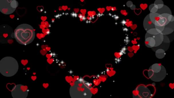 Valentines day animated frame of hearts for overlay on video. Greeting love frame of hearts. Place for text. Festive border decoration of hearts, bokeh, for valentines day. Seamless loop
