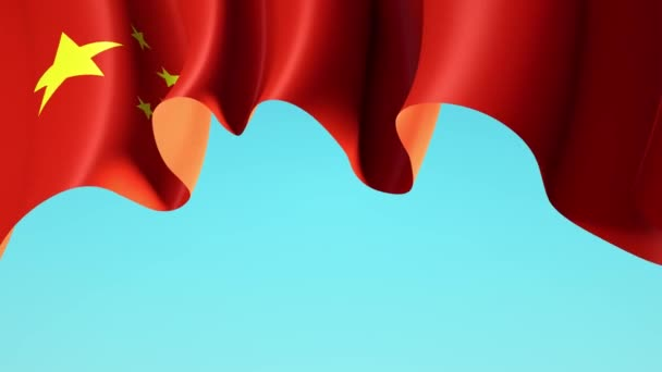 Waving china flag on blue sky for banner design. China waving national flag animated background. Festive patriotic design. Chinese Holidays. Seamless loop
