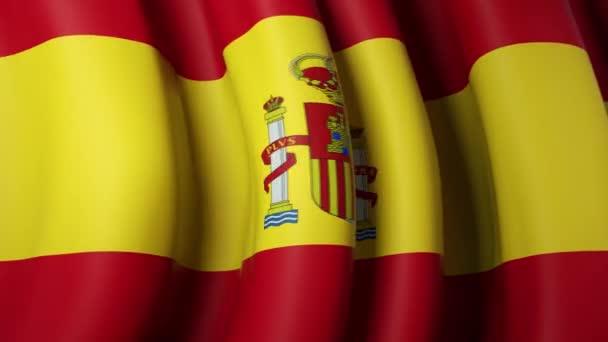 Spanyolország lobogtatja a zászlót a kék égen a banner design. Spanyolország zászló integetés - animált háttér. Spanyol ünnep design. Zökkenőmentes hurok. Lassú mozgás.