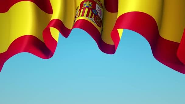Spanyolország lobogtatja a zászlót a kék égen a banner design. Spanyolország zászló integetés - animált háttér. Spanyol ünnep design. Zökkenőmentes hurok