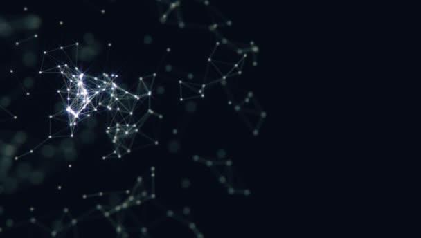 Abstrakter Hintergrund. Molekültechnologie mit polygonalen Formen, die Punkte und Linien miteinander verbinden. Verbindungsstruktur. Visualisierung von Big Data.