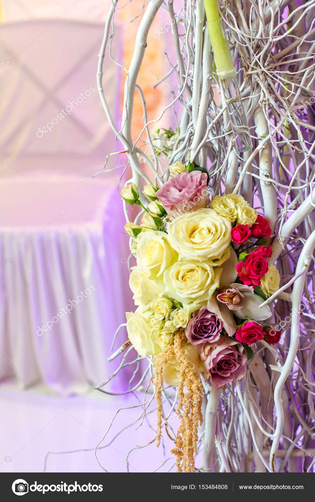 Hochzeit Dekoration Blumen Baum Stuhl Satin Rosen Und Orchideen