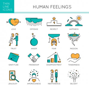 Thin line icons set, vector illustration. Human feelings and emotions, couple relationships. Strong metaphors, isolated symbols. Colored pictograms. Simple mono linear design. stock vector