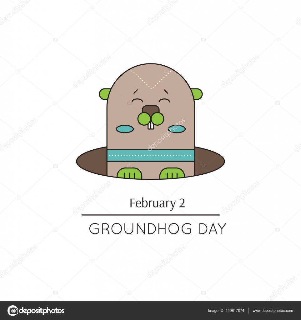 Groundhog Day Line Icon Stock Vector Juliakhimich 140817074