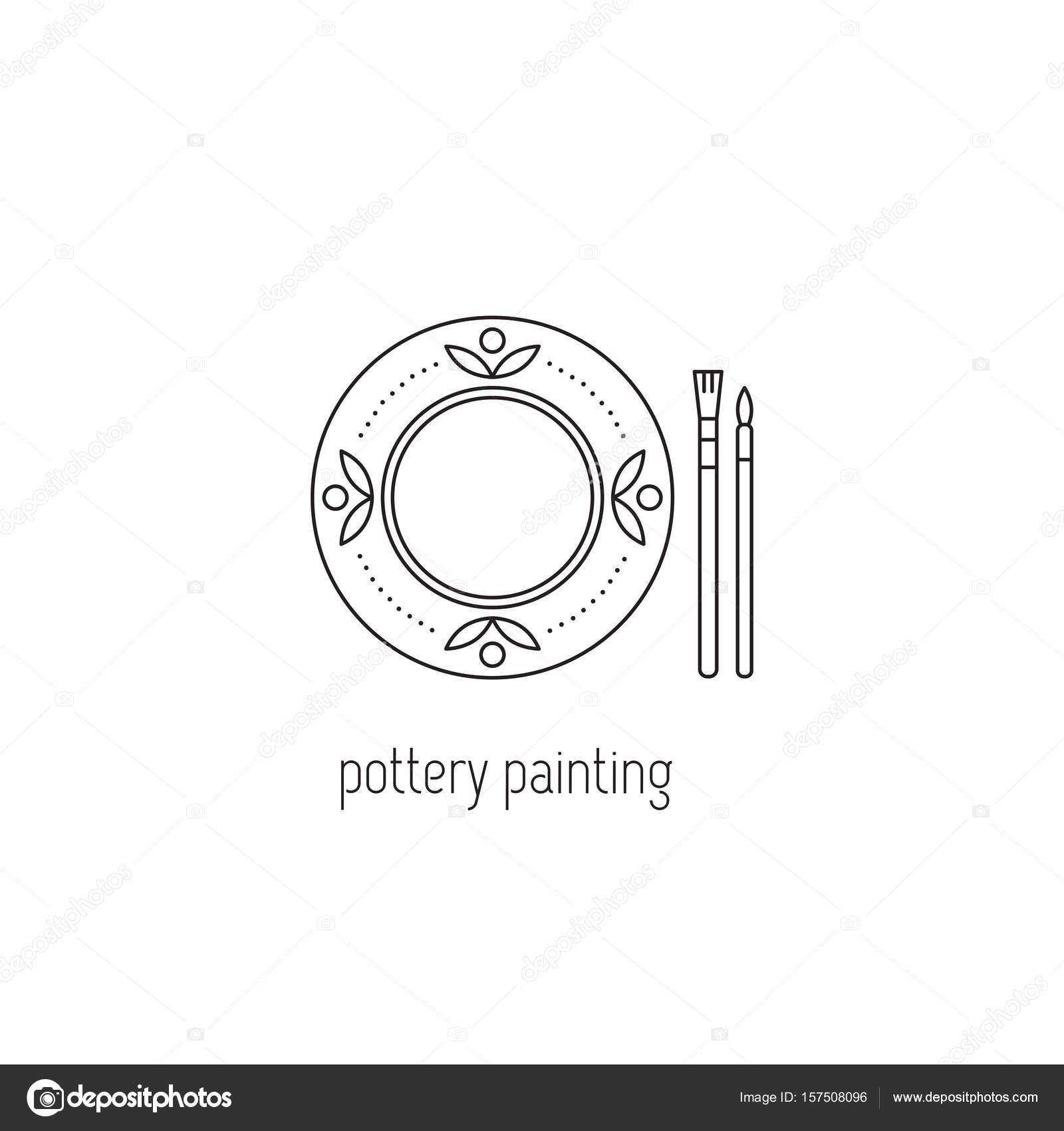 Icône de ligne peinture poterie — Image vectorielle Julia_Khimich ...