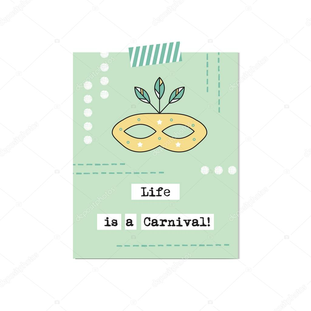 Carnival mask inspirational card