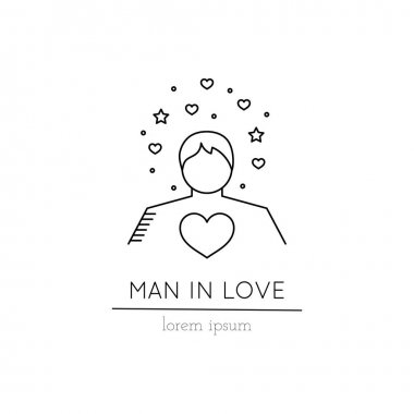 Man in love line icon