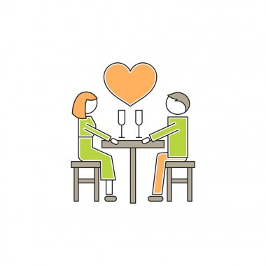 Vector thin line icon, two people in love, romantic dating. Metaphor of amorousness, affection and faithfulness. Man and woman at the table. Colored isolated symbol. Simple mono linear modern design. stock vector