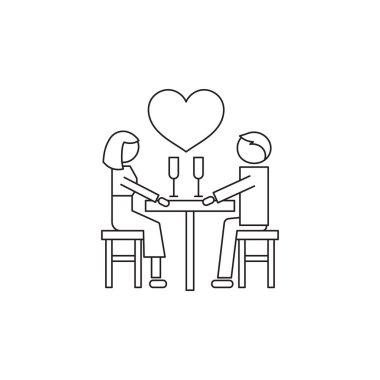 Romantic dating line icon