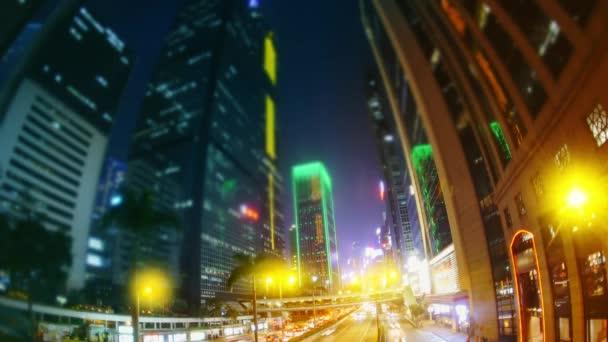 Večer ulicích Hongkongu. Časová prodleva.