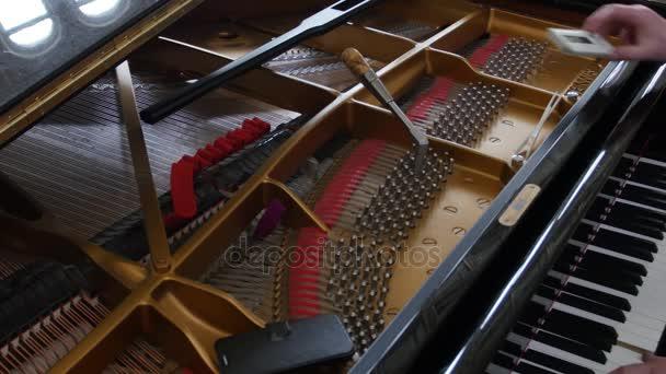 Ladění klavíru. Detailní záběr záběr ladění klavíru