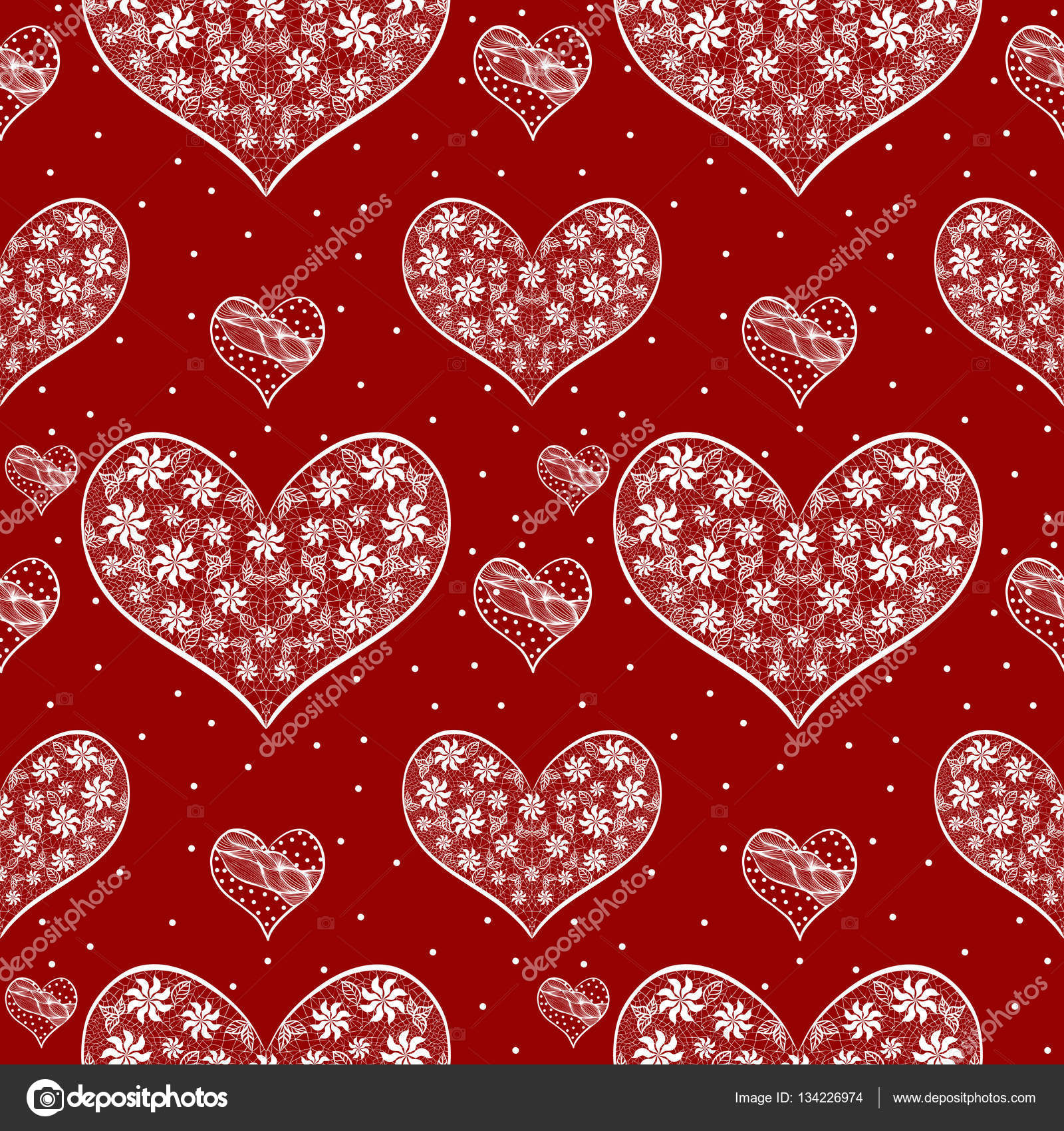 Seamless pattern with romantic hearts. Valentine\'s Day. Wedding ...