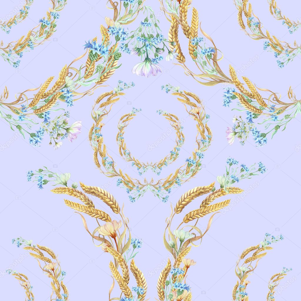 Seamless pattern. Collage of cornflowers and ears. Watercolor.