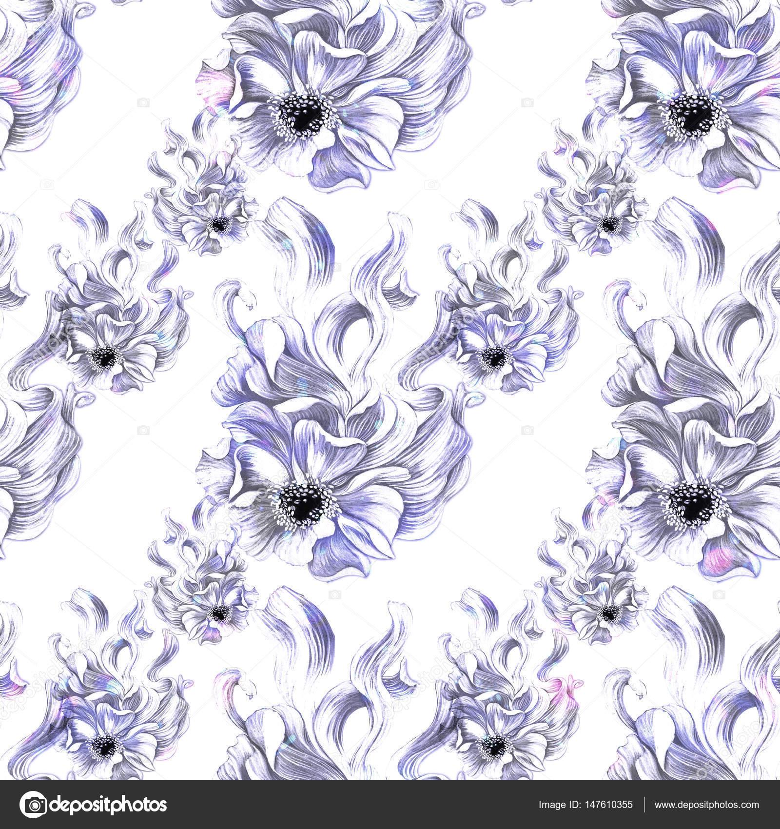 Blumen Abstrakte Wallpaper Mit Floralen Motiven Nahtlose Muster