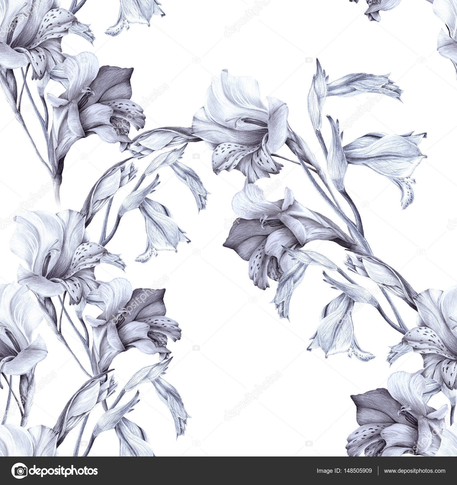 Gladiolus Abstract Wallpaper With Floral Motifs Seamless Pattern