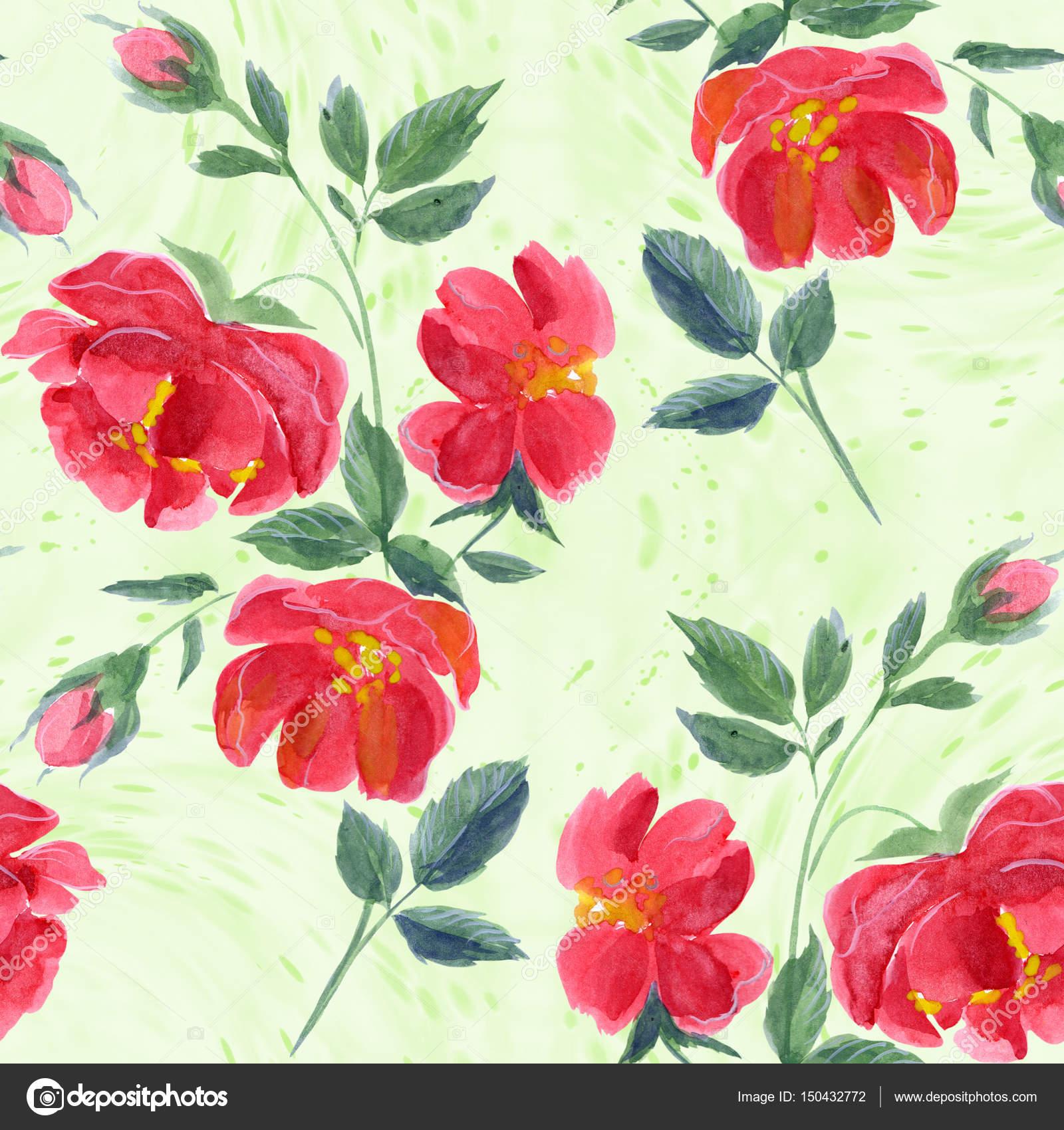Flores. Fondo De Pantalla Abstracto Con Motivos Florales