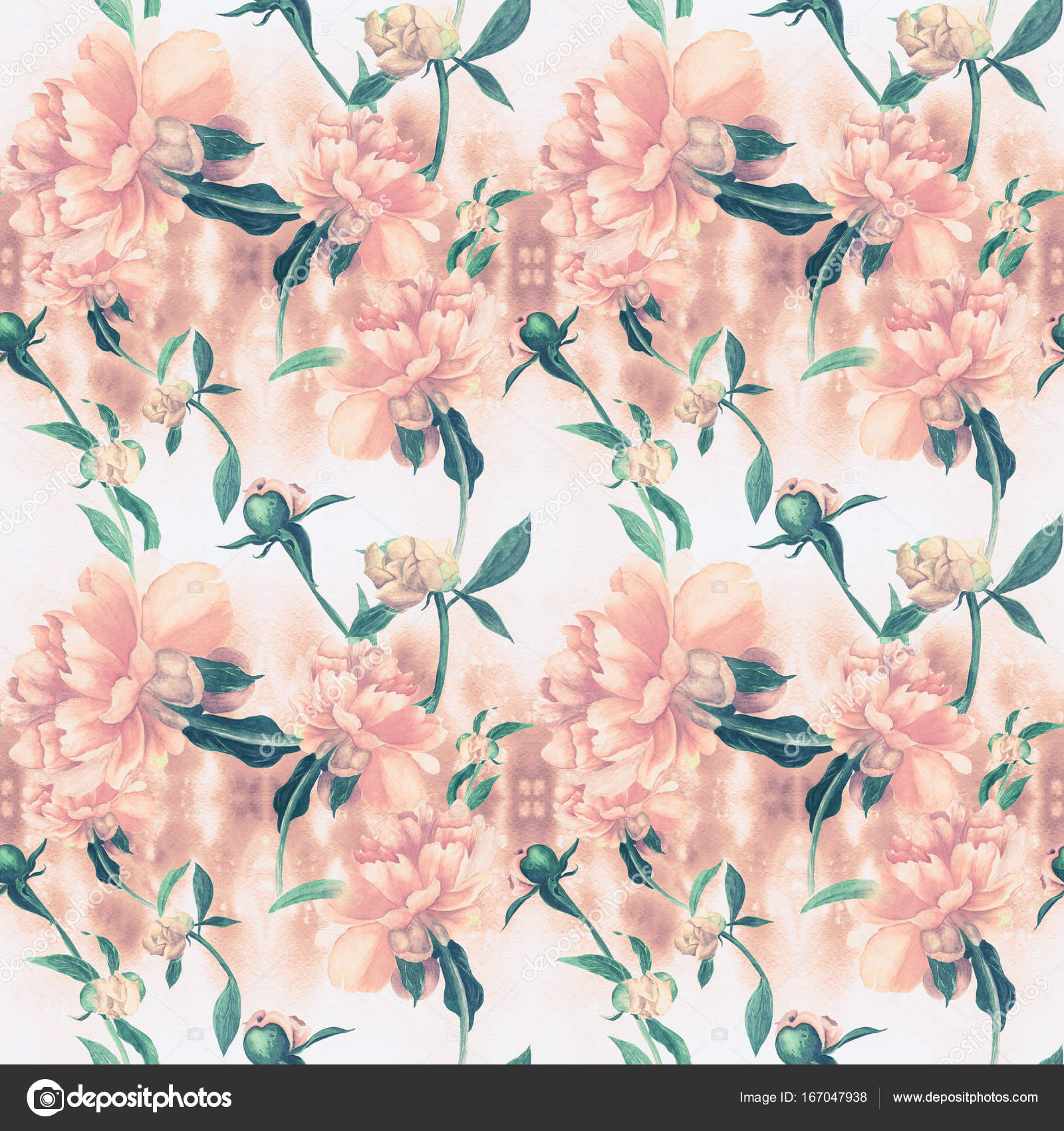 Flowers And Buds Of A Pink Peony Decorative Composition On Watercolor Background Photo By Gvinevera88