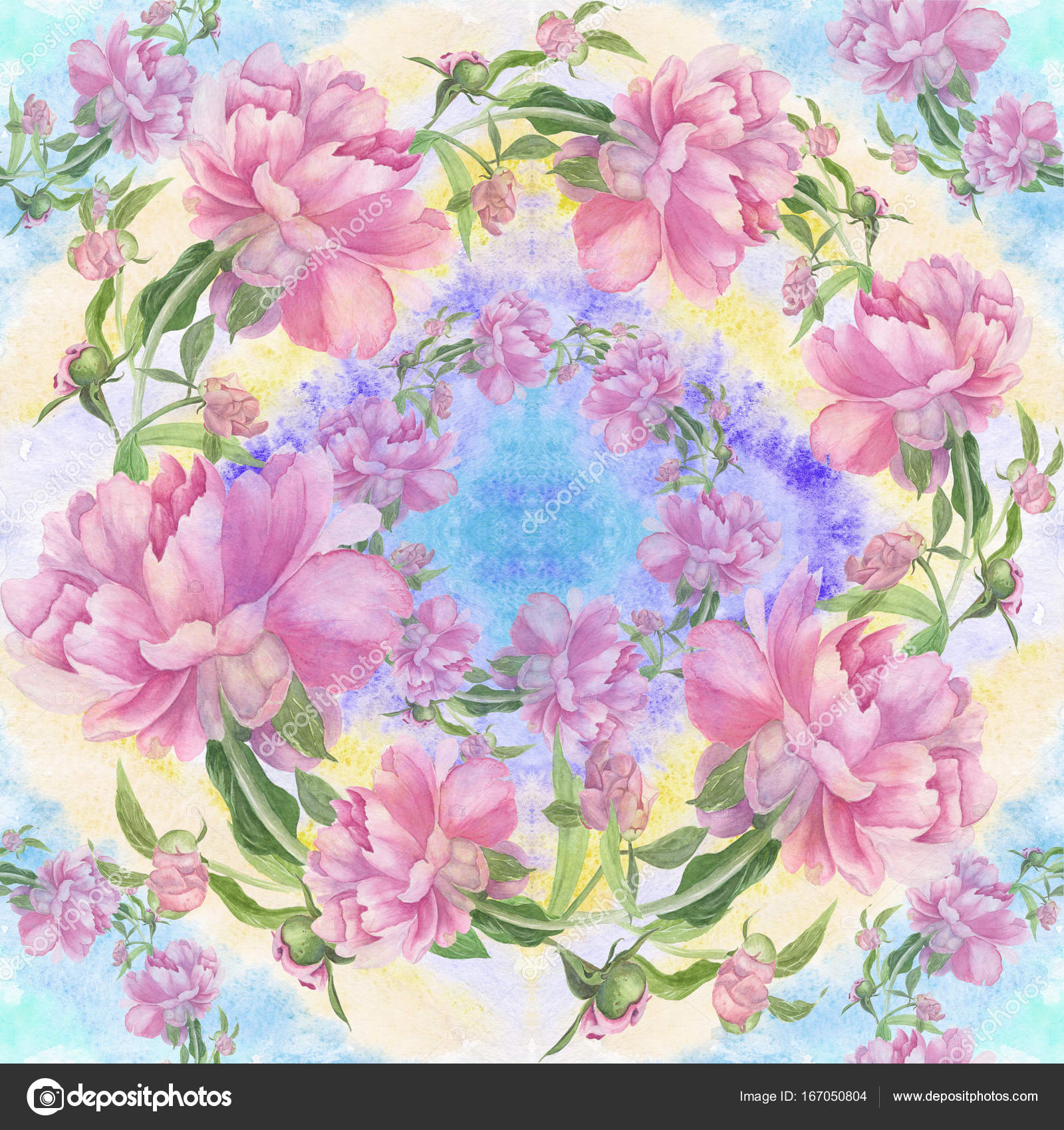 Peonies Are Flowers And Buds Watercolor Seamless Pattern Wallpaper Use Printed Materials