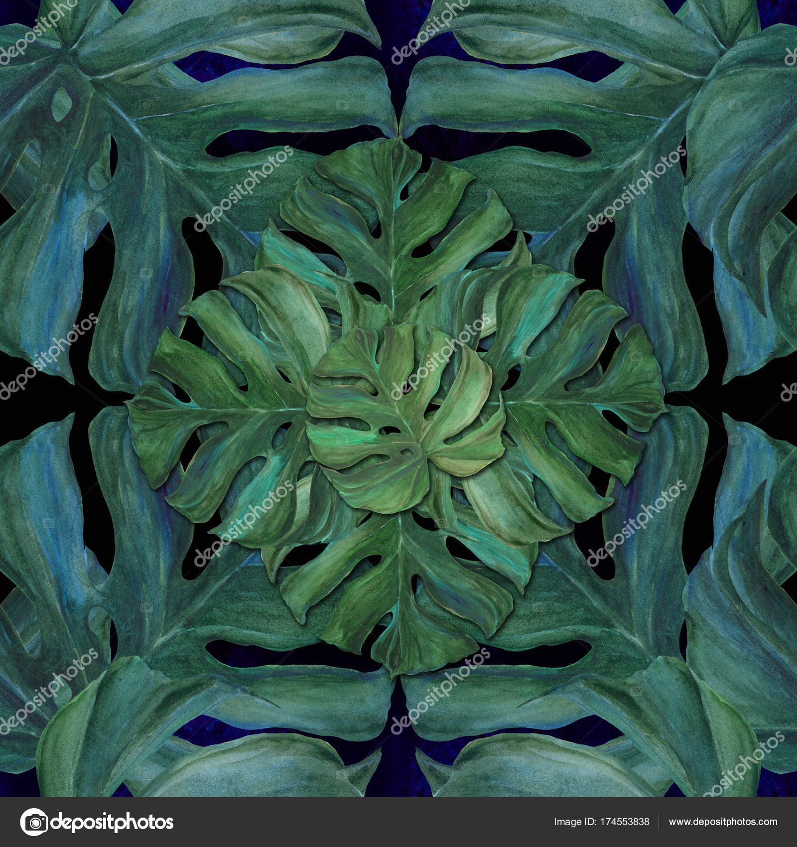 Large Leaves Of Tropical Plants Decorative Composition On A