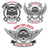 geboren für Geschwindigkeit. Satz Radlerschädel in Helmen, mit Flügeln und