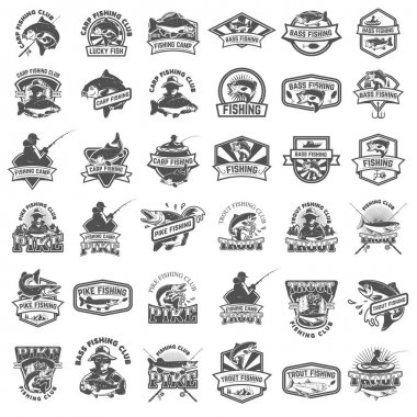 Big set of fishing icons. Carp fishing, trout fishing, bass fish