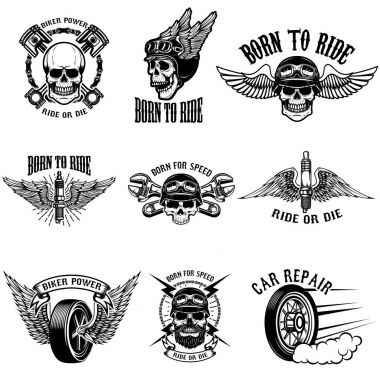 Set of biker emblems on white background. Racers skulls with win