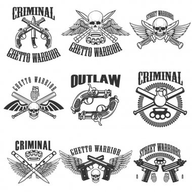 Set of outlaw, criminal, street warrior emblems. Skulls with win