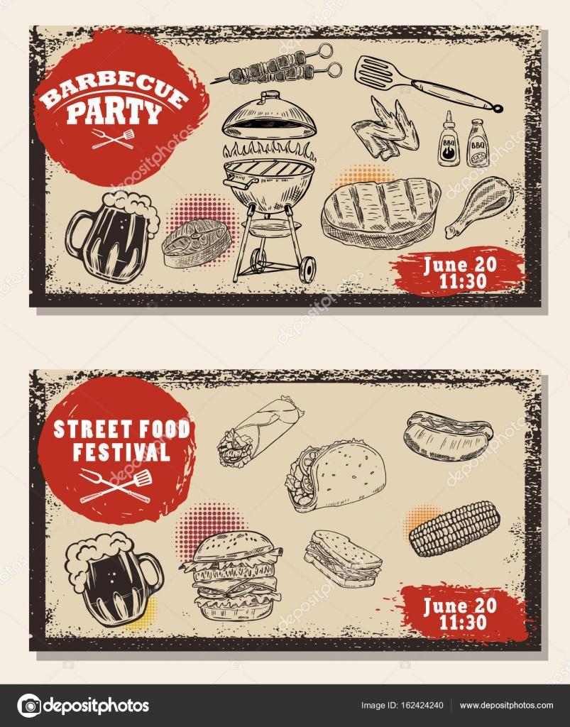 Populair Set van BBQ-partij uitnodiging sjablonen op een lichte achtergrond  @TT31