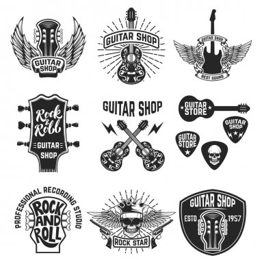 Set of guitar store emblems. Design elements for logo, label, em
