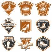 Photo Set of shoe repair emblems. Shoe repair tools. Design elements for logo, label, emblem, sign.
