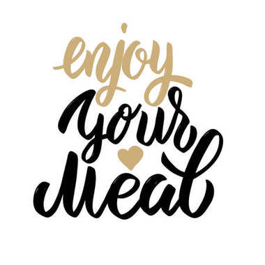 Enjoy your meal. Hand drawn lettering phrase isolated on white background.
