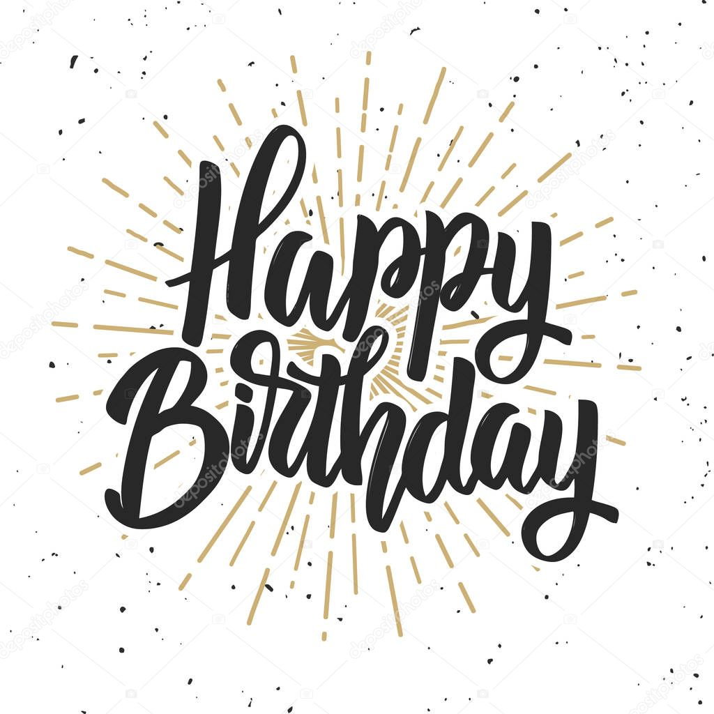 happy birthday hand lettering feliz anivers 225 m 227 o desenhada letras frase isolado no 22082 | depositphotos 165181700 stock illustration happy birthday hand drawn lettering