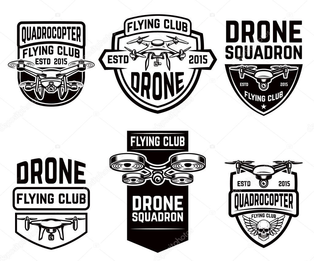 set of drone flying club emblems templates stock vector. Black Bedroom Furniture Sets. Home Design Ideas